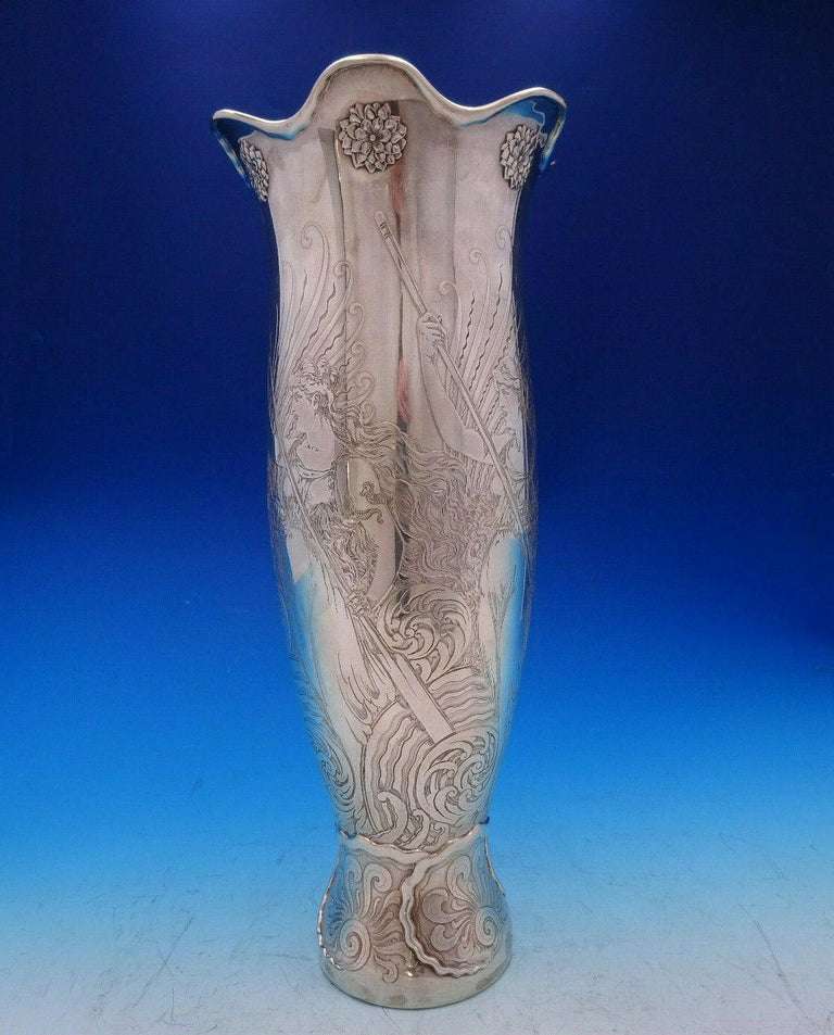 La Fantasy by Whiting Sterling Silver Tall Vase Acid Etched Figural Sea For Sale 3