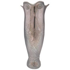 La Fantasy by Whiting Sterling Silver Tall Vase Acid Etched Figural Sea