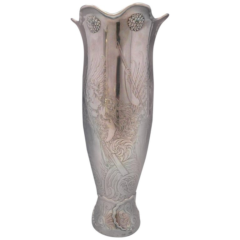 La Fantasy by Whiting Sterling Silver Tall Vase Acid Etched Figural Sea For Sale