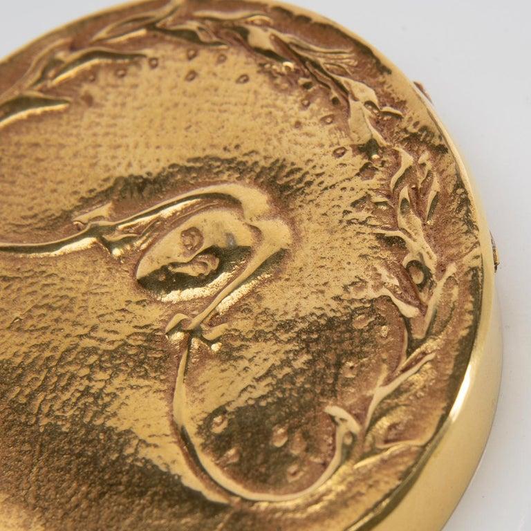 """Gilt """"La fille aux nattes"""" Gilded Bronze Compact, Line Vautrin 'France' For Sale"""