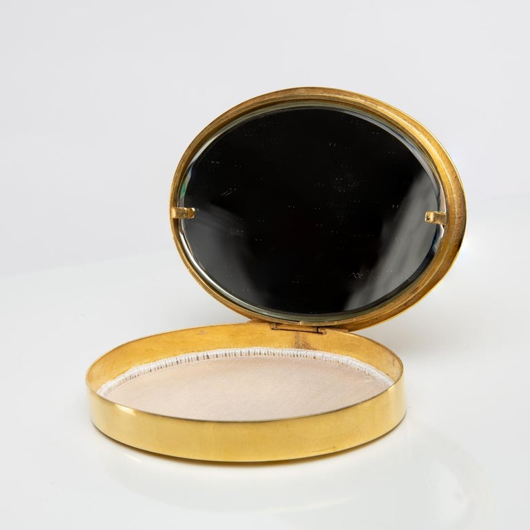 """""""La fille aux nattes"""" Gilded Bronze Compact, Line Vautrin 'France' In Good Condition For Sale In Brussels, BE"""