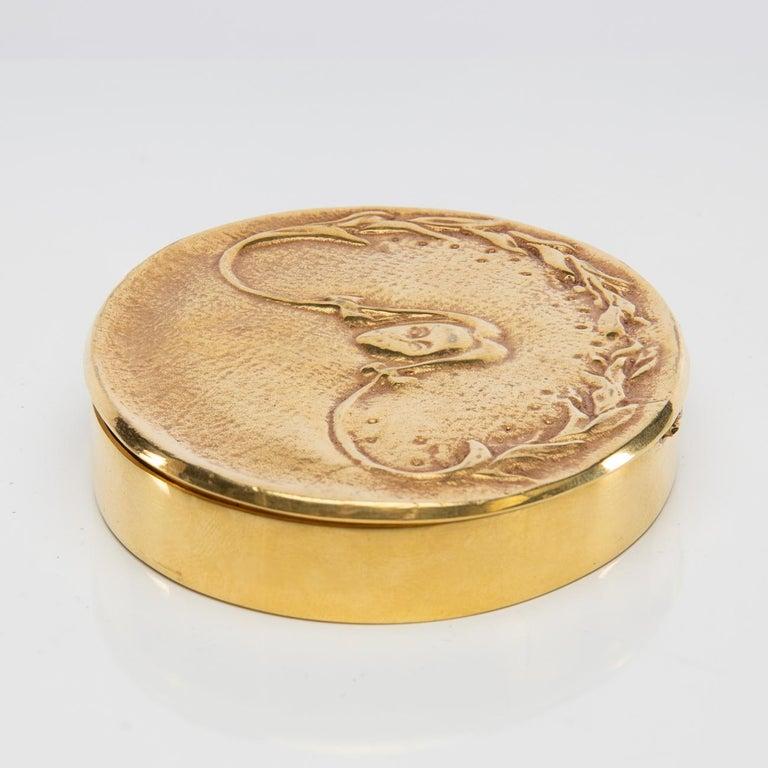 """""""La fille aux nattes"""" Gilded Bronze Compact, Line Vautrin 'France' For Sale 1"""