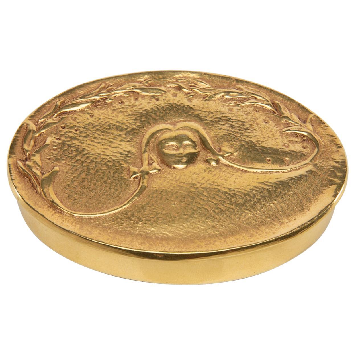 """""""La fille aux nattes"""" Gilded Bronze Compact, Line Vautrin 'France'"""