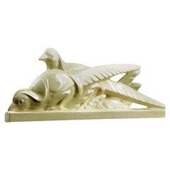 La Fontinelle French Art Deco Ceramic Couple of Pheasants, circa 1925