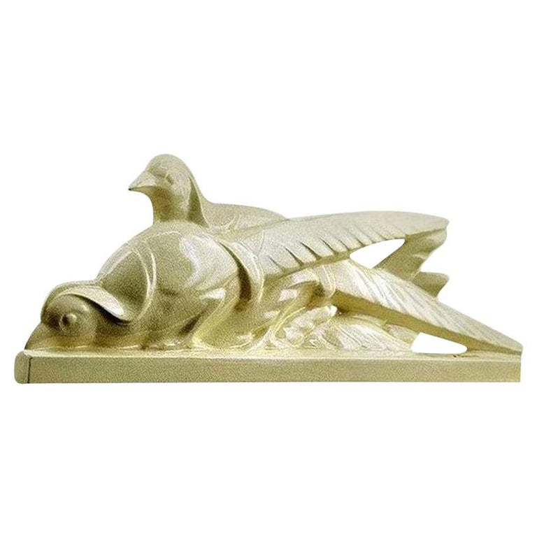 La Fontinelle French Art Deco Ceramic Couple of Pheasants, circa 1925 For Sale