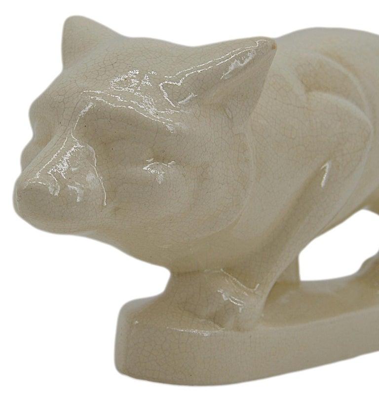 La Fontinelle French Art Deco Crackle Glaze Ceramic Fox, ca.1925 In Good Condition For Sale In Saint-Amans-des-Cots, FR