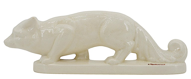 Early 20th Century La Fontinelle French Art Deco Crackle Glaze Ceramic Fox, ca.1925 For Sale
