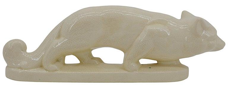 La Fontinelle French Art Deco Crackle Glaze Ceramic Fox, ca.1925 For Sale 1