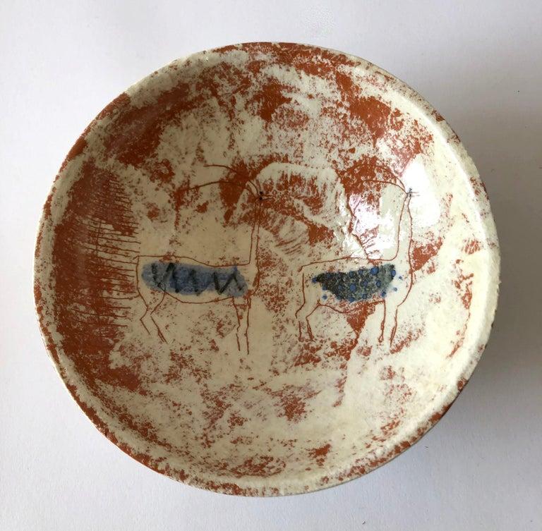 American La Gardo Tackett California Studio Ceramic Bowl with Paleolithic Design For Sale