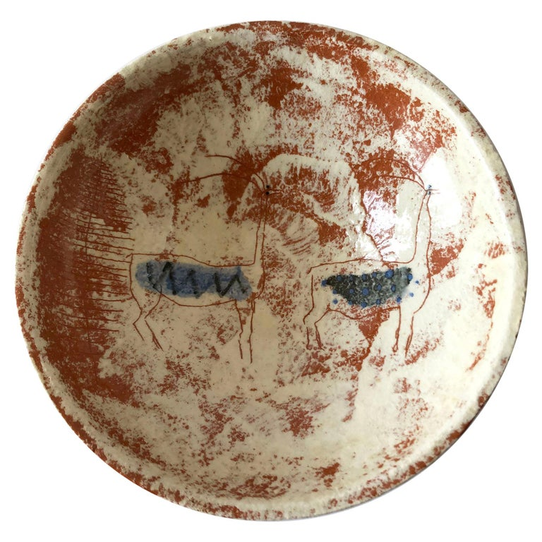 La Gardo Tackett California Studio Ceramic Bowl with Paleolithic Design For Sale