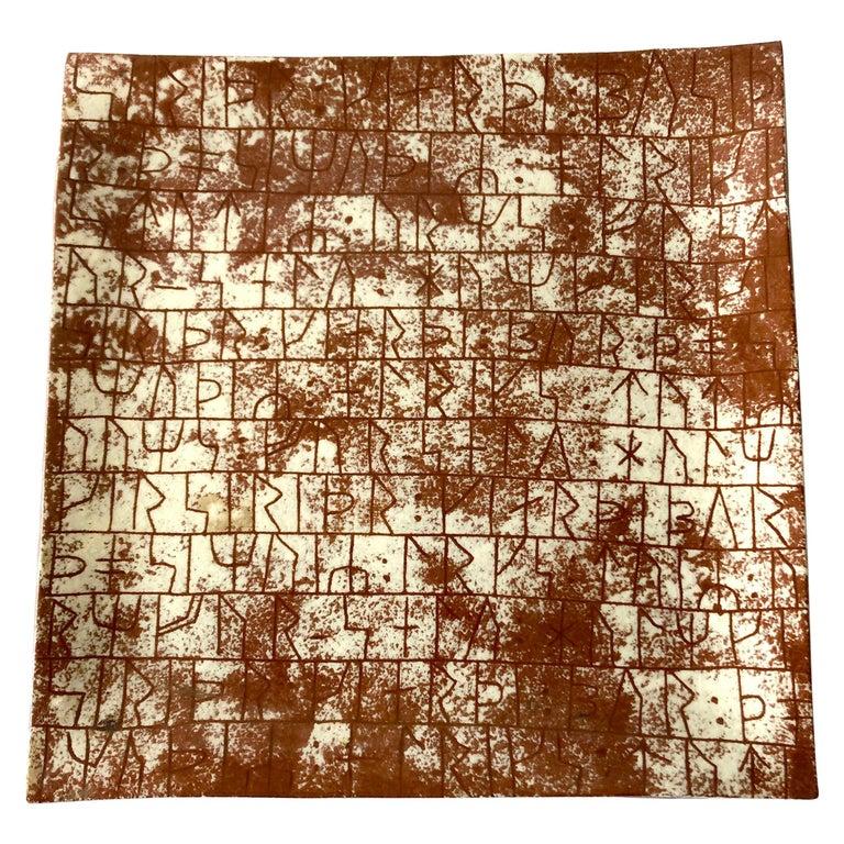 La Gardo Tackett California Studio Ceramic Platter with Paleolithic Design For Sale