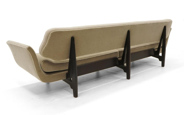 Upholstery La Gondola Sofa by Edward Wormley for Dunbar, Expertly Restored, Gray Mohair For Sale