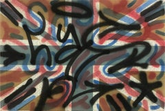 """LA ROC in London"" Decorated Graffiti Street Art on Found Union Jack Flag Canvas"