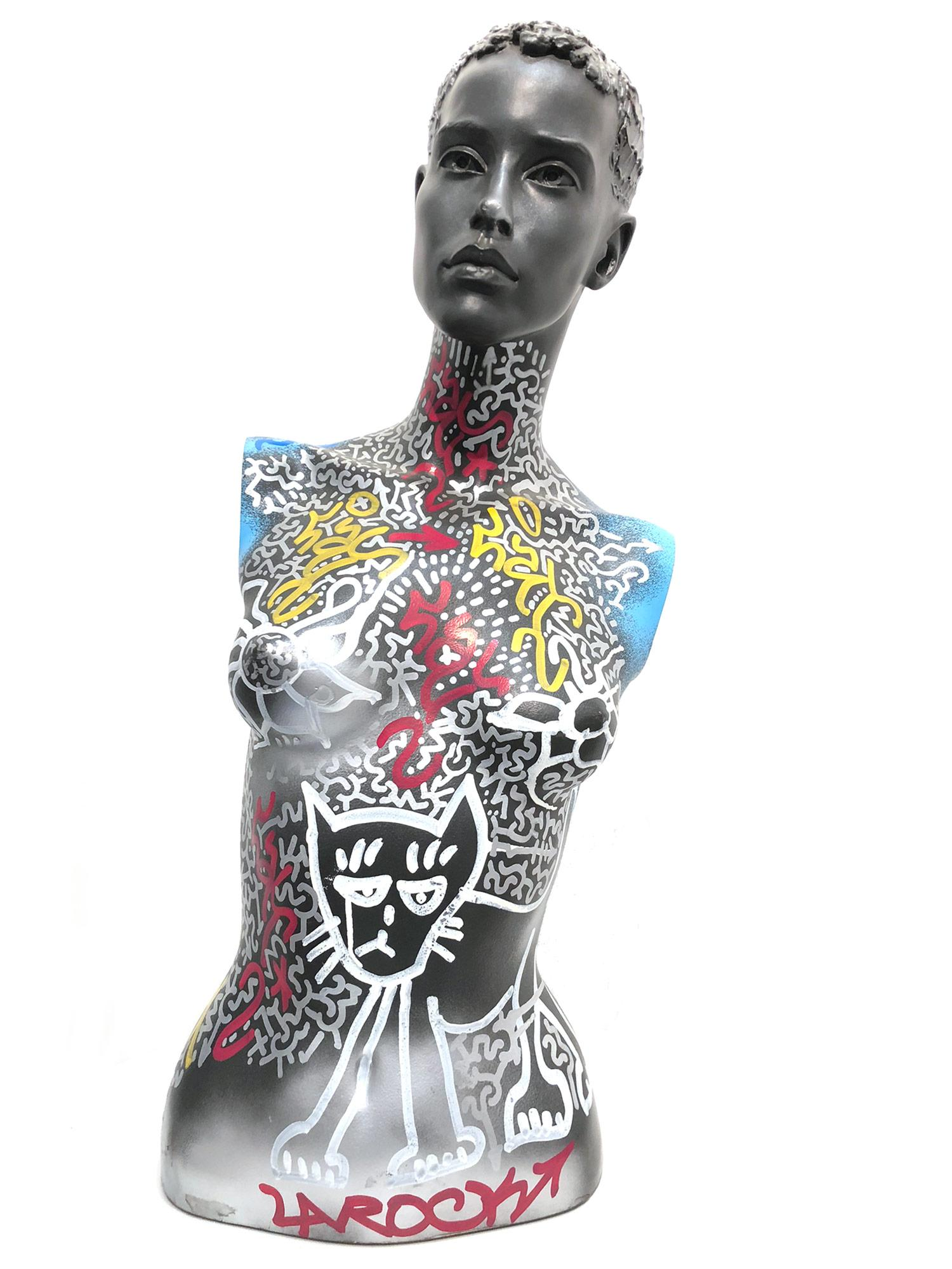 """LA ROC Cat Woman"" Decorated Graffiti Street Art Mannequin Bust Sculpture"