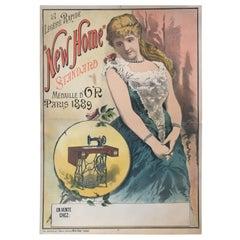 "'La Legere Rapide ""New Home"", Original Vintage Sewing Poster, circa 1895"