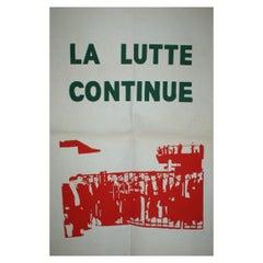 La Lutte Continue May 1968 Original Vintage Poster