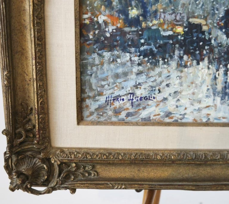 Oil on board, signed lower left. Painting measures 18 x 21 inches; Frame: 26 1/2 x 31 inches.  Merio noted impressionist painter primarily known for his landscapes and cityscapes, seascapes and harbor views from his extensive travels throughout