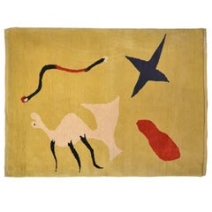 'La Mangouste' Yellow Wool Rug by Joan Miro, circa 1960