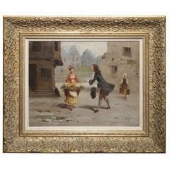 La Marchande De Fleurs, Oil on Canvas from France, Signed Leroy
