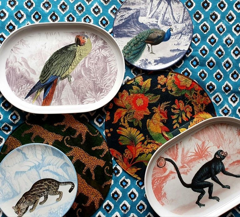 Modern La Menagerie Ottomane Parrot Porcelain Tray Made in Italy For Sale