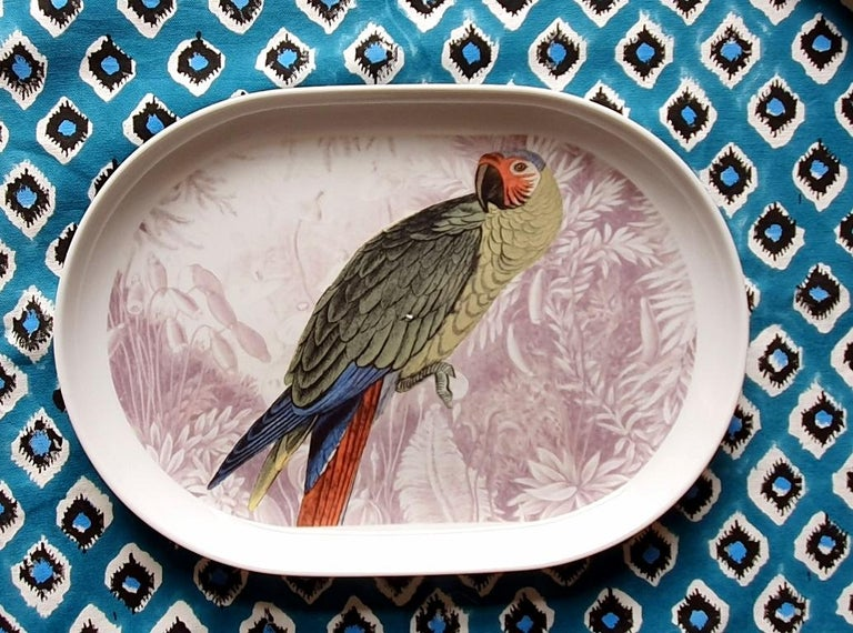 La Menagerie Ottomane Parrot Porcelain Tray Made in Italy In New Condition For Sale In ROCCAVIVARA CB, IT