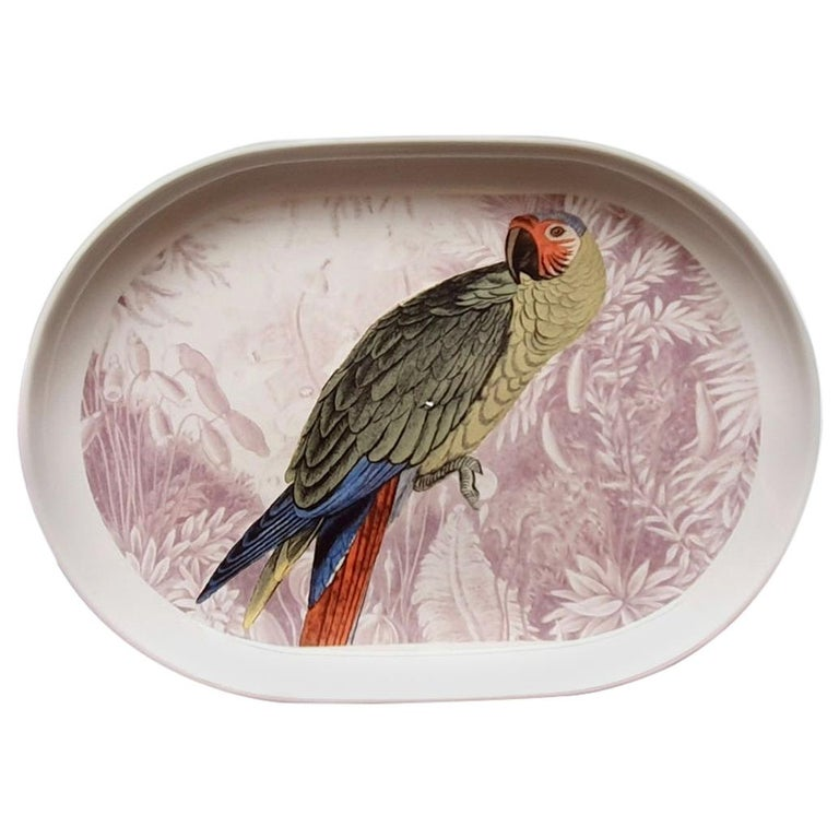 La Menagerie Ottomane Parrot Porcelain Tray Made in Italy For Sale