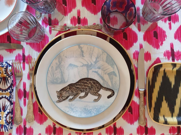 Other La Menagerie Ottomane Tiger Porcelaine Dinner Plate Handmade in Italy For Sale