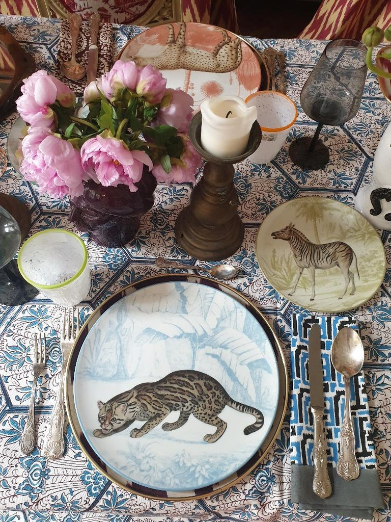 Italian La Menagerie Ottomane Tiger Porcelaine Dinner Plate Handmade in Italy For Sale