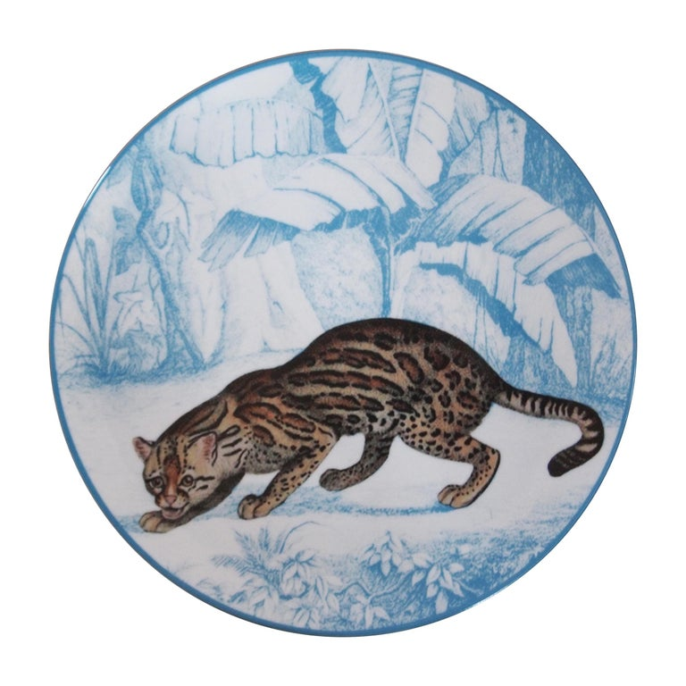 La Menagerie Ottomane Tiger Porcelaine Dinner Plate Handmade in Italy For Sale