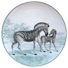 La Menagerie Ottomane Zebras Porcelain Dinner Plate Handmade in Italy