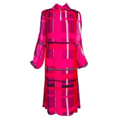 La Mendola Couture Hot Pink Silk Chiffon Modernist Print Dress 1970s