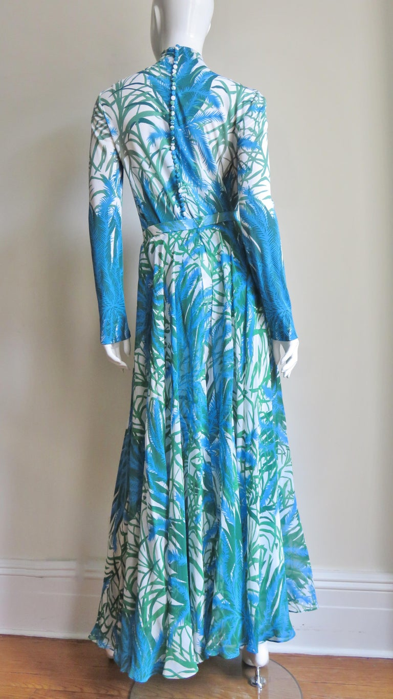 La Mendola Silk Maxi Dress and Over Skirt 1970s For Sale 7
