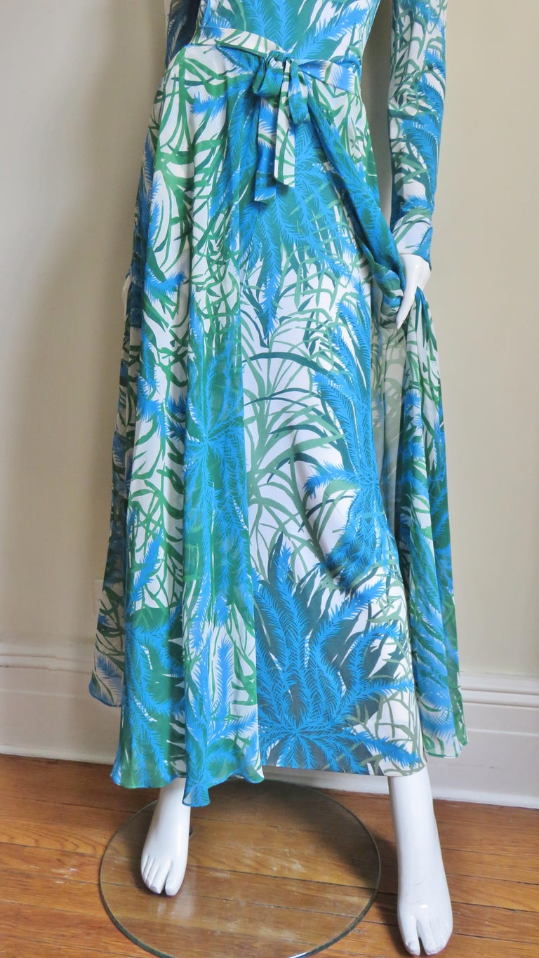 Women's La Mendola Silk Maxi Dress and Over Skirt 1970s For Sale