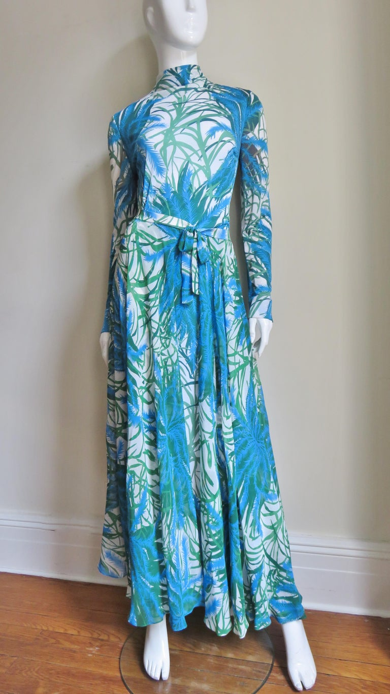 La Mendola Silk Maxi Dress and Over Skirt 1970s For Sale 1