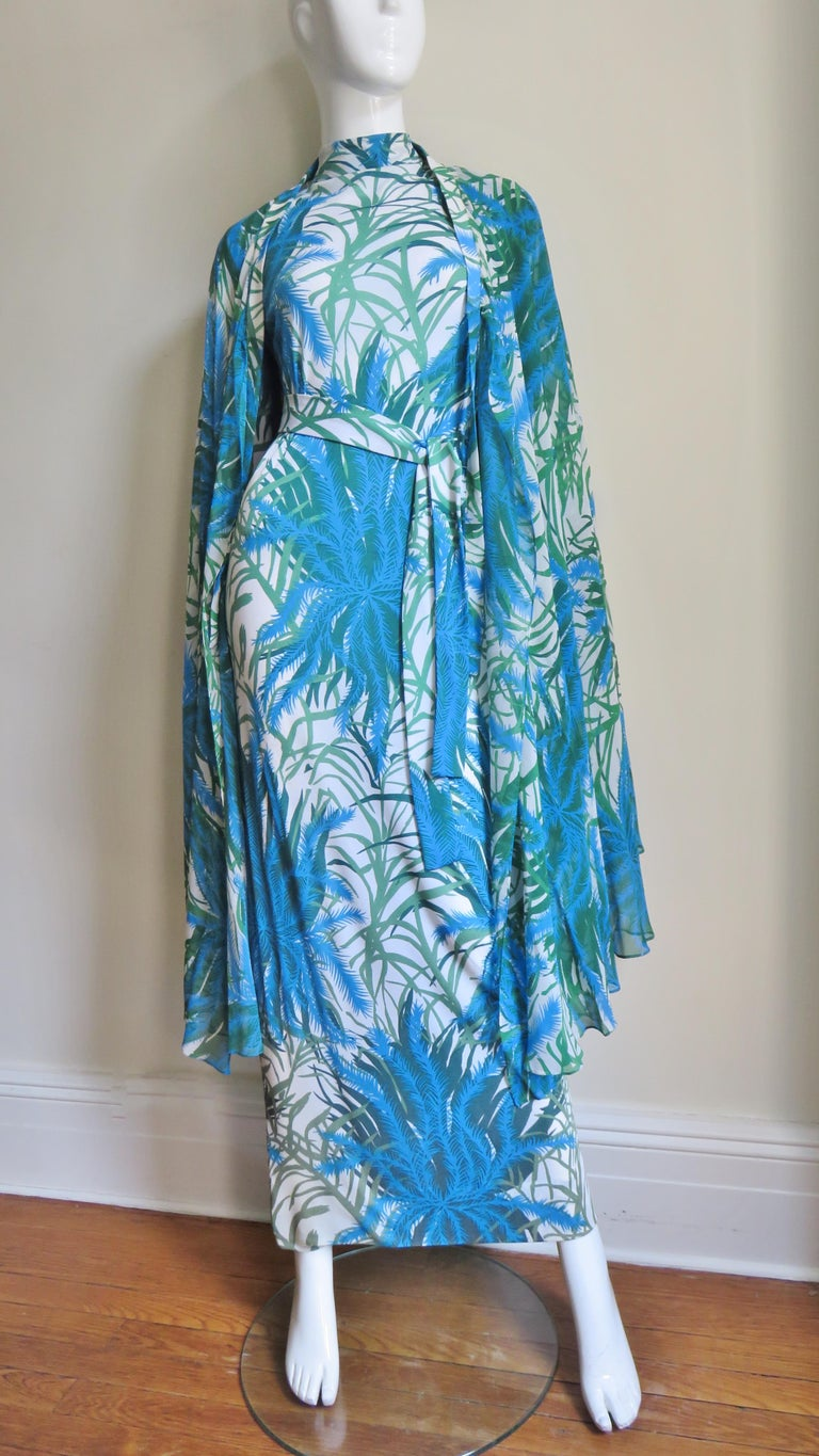 La Mendola Silk Maxi Dress and Over Skirt 1970s For Sale 3