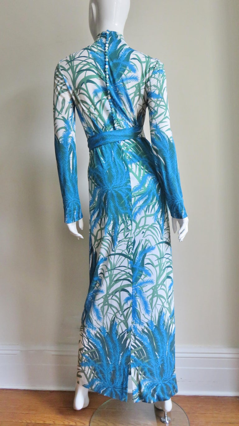 La Mendola Silk Maxi Dress and Over Skirt 1970s For Sale 4