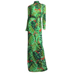 La Mendola Silk Maxi Dress and Matching Overskirt 1970s