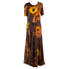 La Mendola Vintage Floral Silk Jersey Maxi Evening Dress