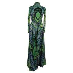 La Mendola Vintage Green Jersey Long Sleeve Maxi Evening Dress