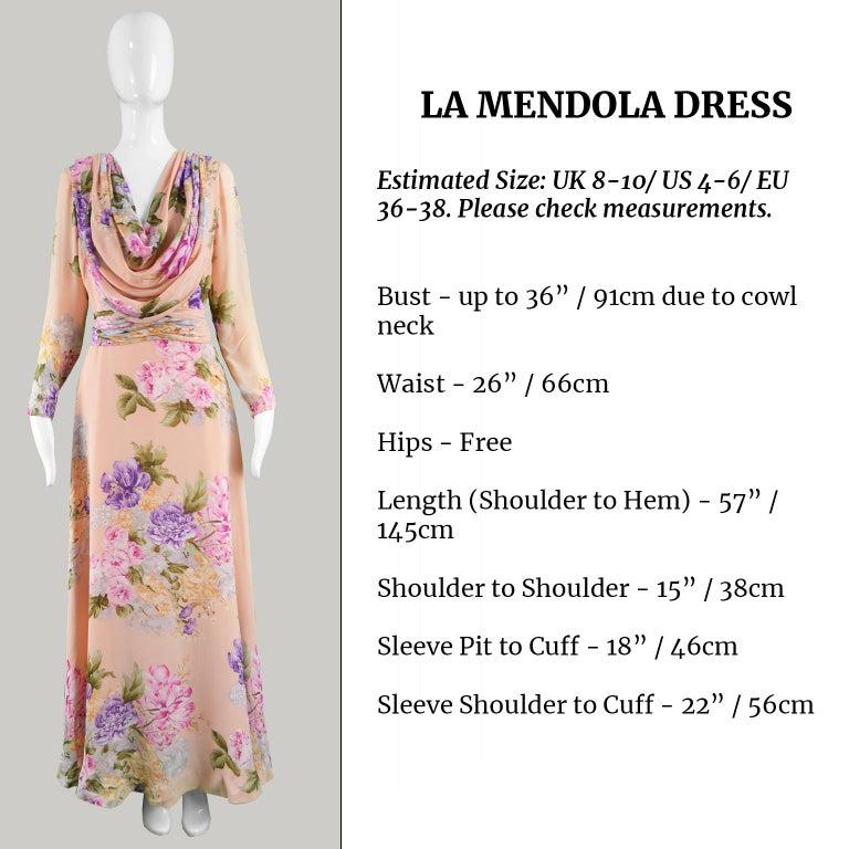 La Mendola Vintage Peach Chiffon Cowl Neck Floral Print Maxi Dress, 1970s For Sale 6