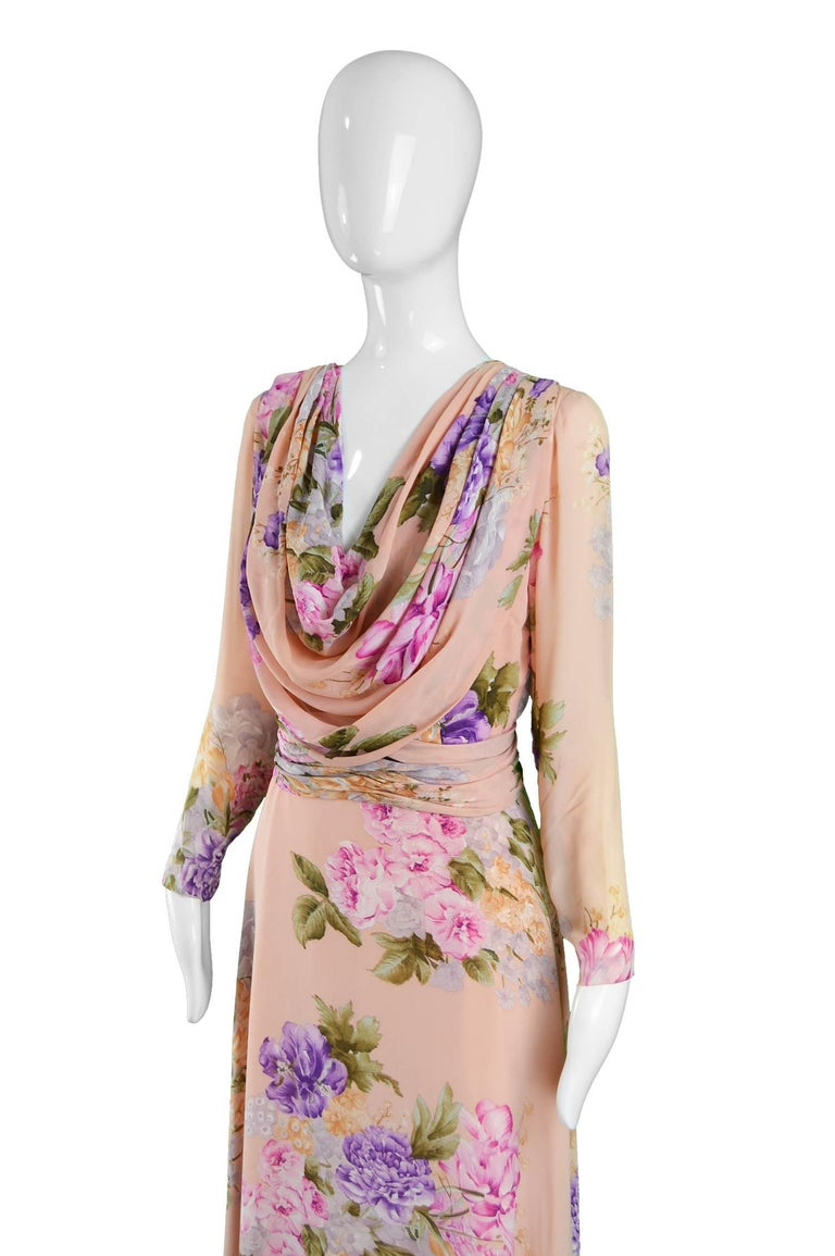 Beige La Mendola Vintage Peach Chiffon Cowl Neck Floral Print Maxi Dress, 1970s For Sale