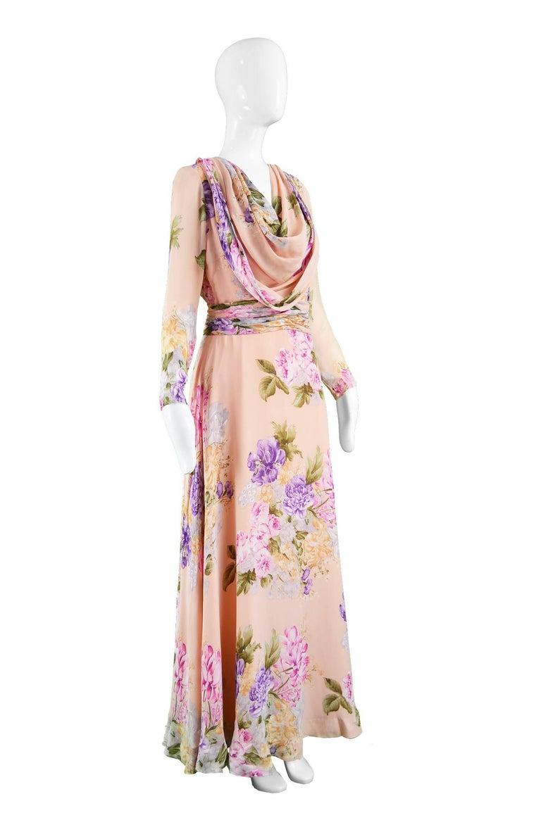 Women's La Mendola Vintage Peach Chiffon Cowl Neck Floral Print Maxi Dress, 1970s For Sale