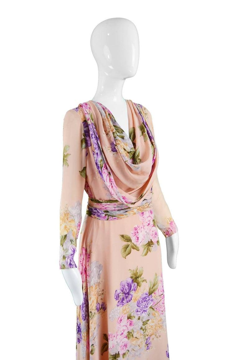 La Mendola Vintage Peach Chiffon Cowl Neck Floral Print Maxi Dress, 1970s For Sale 1