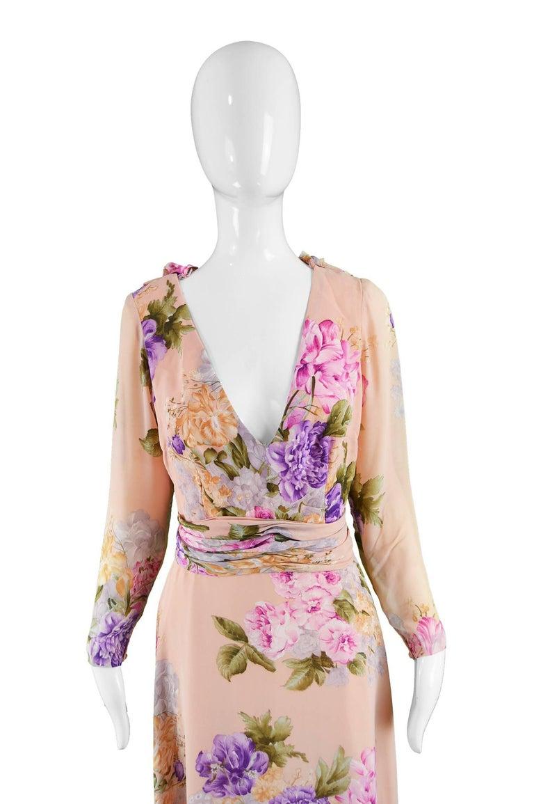 La Mendola Vintage Peach Chiffon Cowl Neck Floral Print Maxi Dress, 1970s For Sale 2
