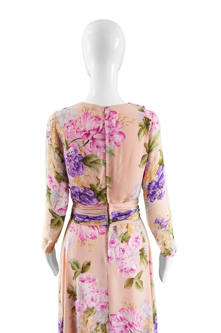 La Mendola Vintage Peach Chiffon Cowl Neck Floral Print Maxi Dress, 1970s For Sale 3