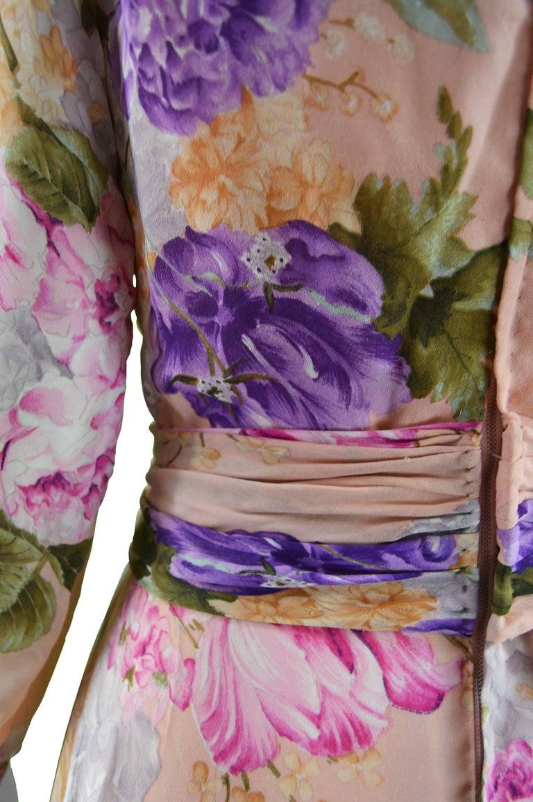 La Mendola Vintage Peach Chiffon Cowl Neck Floral Print Maxi Dress, 1970s For Sale 4