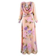 La Mendola Vintage Peach Chiffon Cowl Neck Floral Print Maxi Dress, 1970s