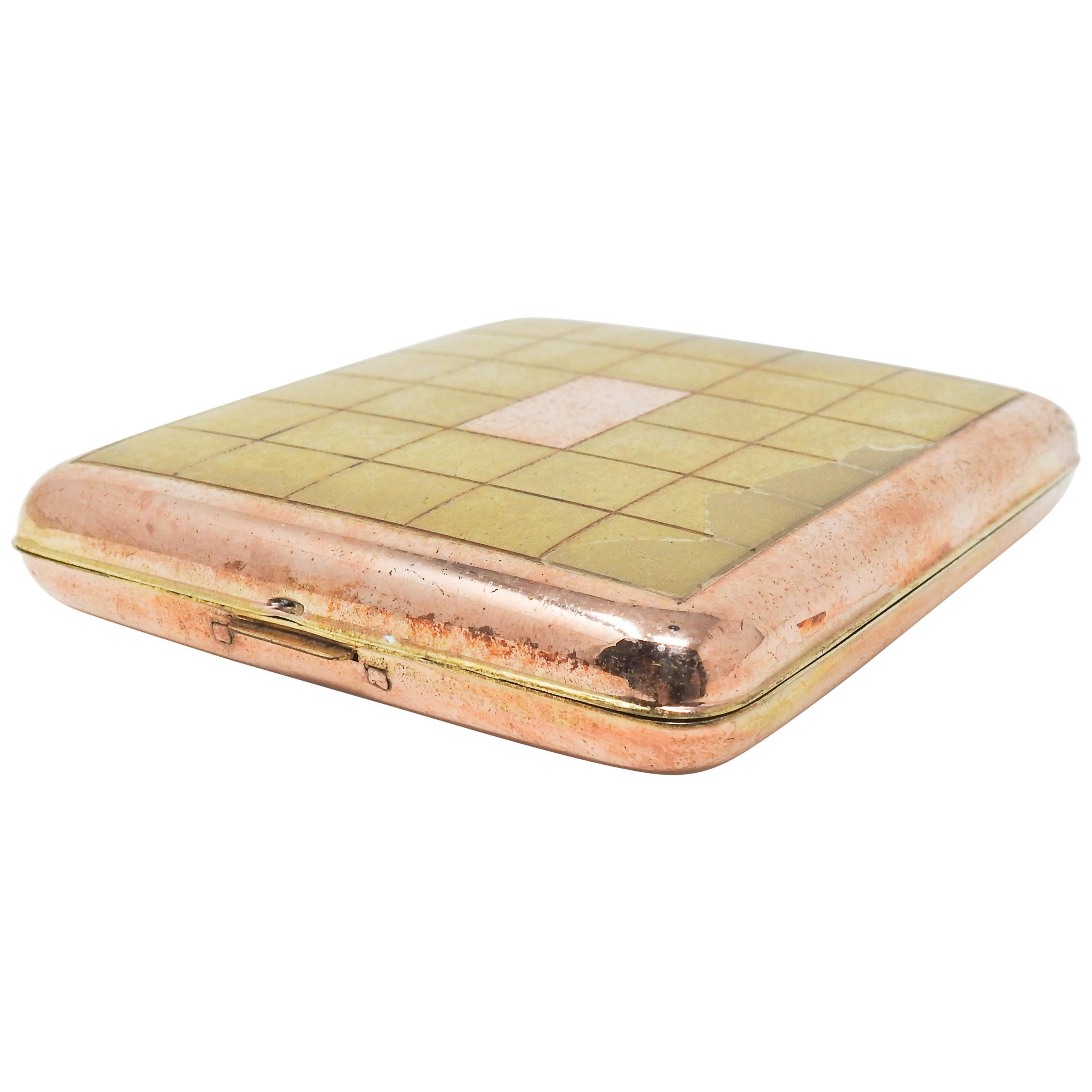 La Mode Brass and Copper Cigarette Case