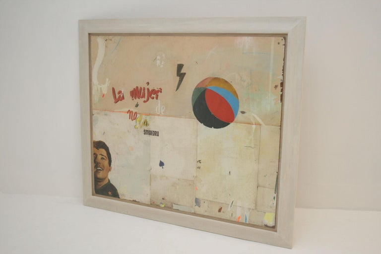 La Mujer Large abstract collage by Artist Huw Griffith. Collage: 19th century French ephemera, film posters from 1930s, 1940s and 1950s, graphite crayons and household paint. La Mujer means 'The Woman' in Spanish – title an imaginary film