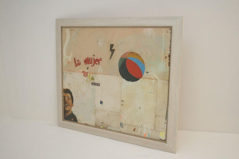 English La Mujer Large Abstract Collage by Artist Huw Griffith For Sale